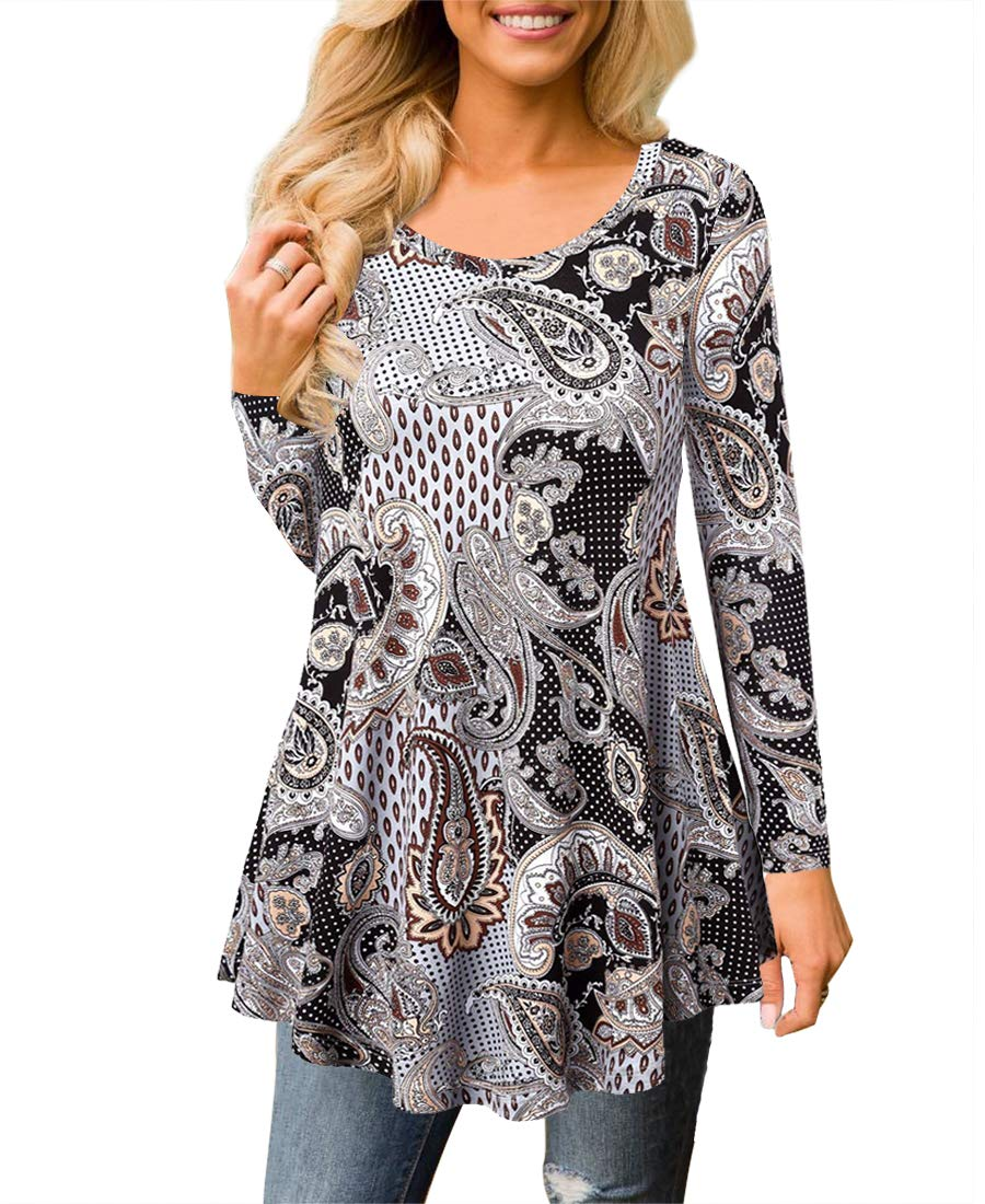 MIROL Womens Summer Short Sleeve Floral Print Irregular Hem Asymmetrical Loose Fit Tunic Tops (Large, Coffee)