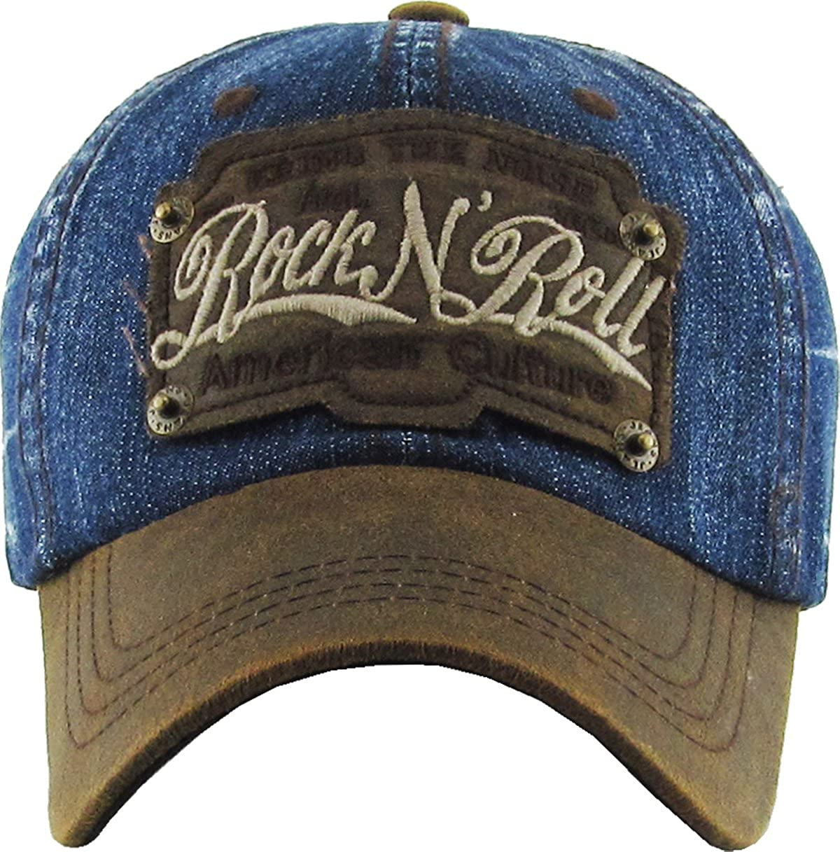 Black Denim KBETHOS Vintage Distressed ROCK N ROLL Washed Baseball Cap Hat
