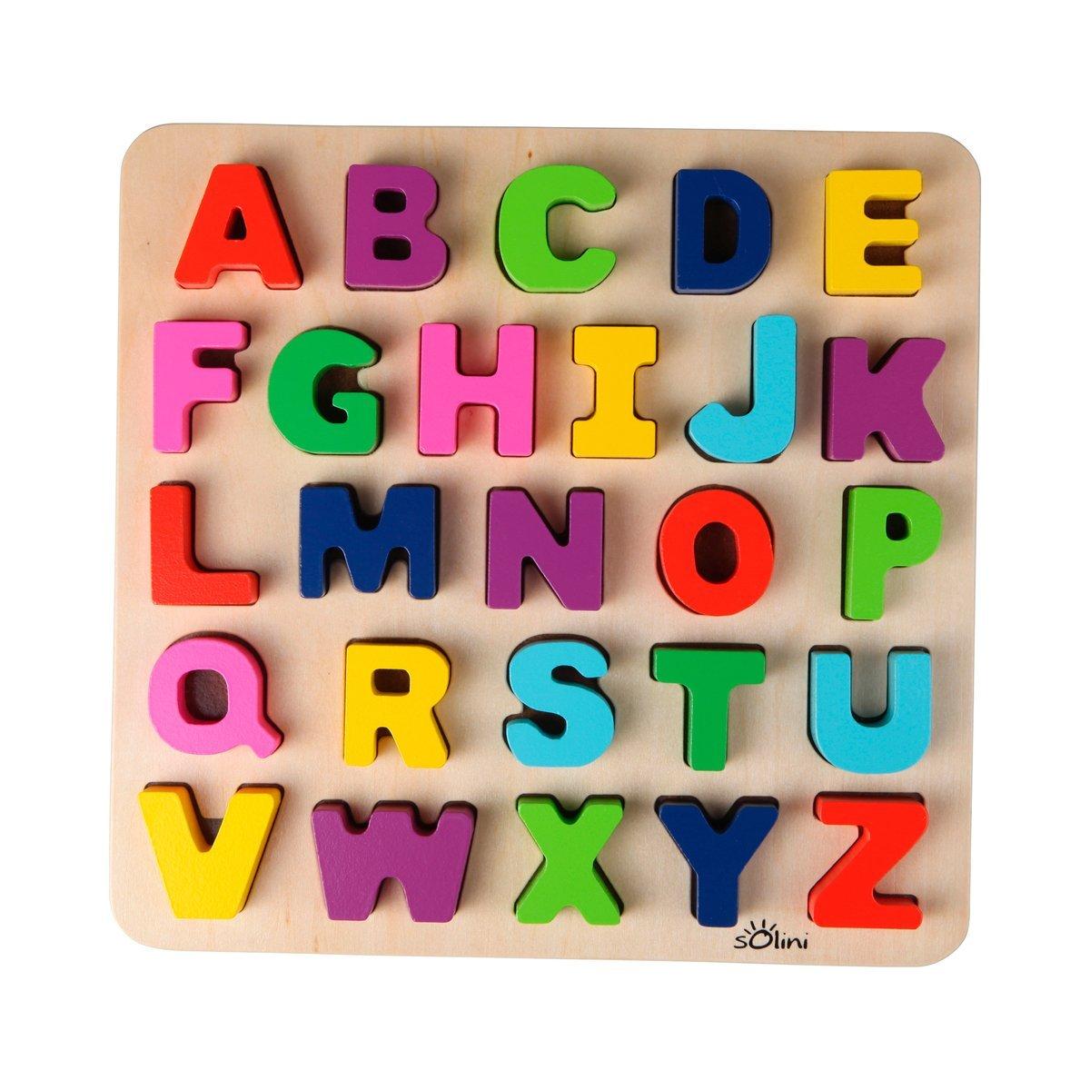 ab 18 Monate bunt neu Puzzle Spiele Holzspielzeug solini ABC Buchstaben 26-tlg Spielzeug Baby