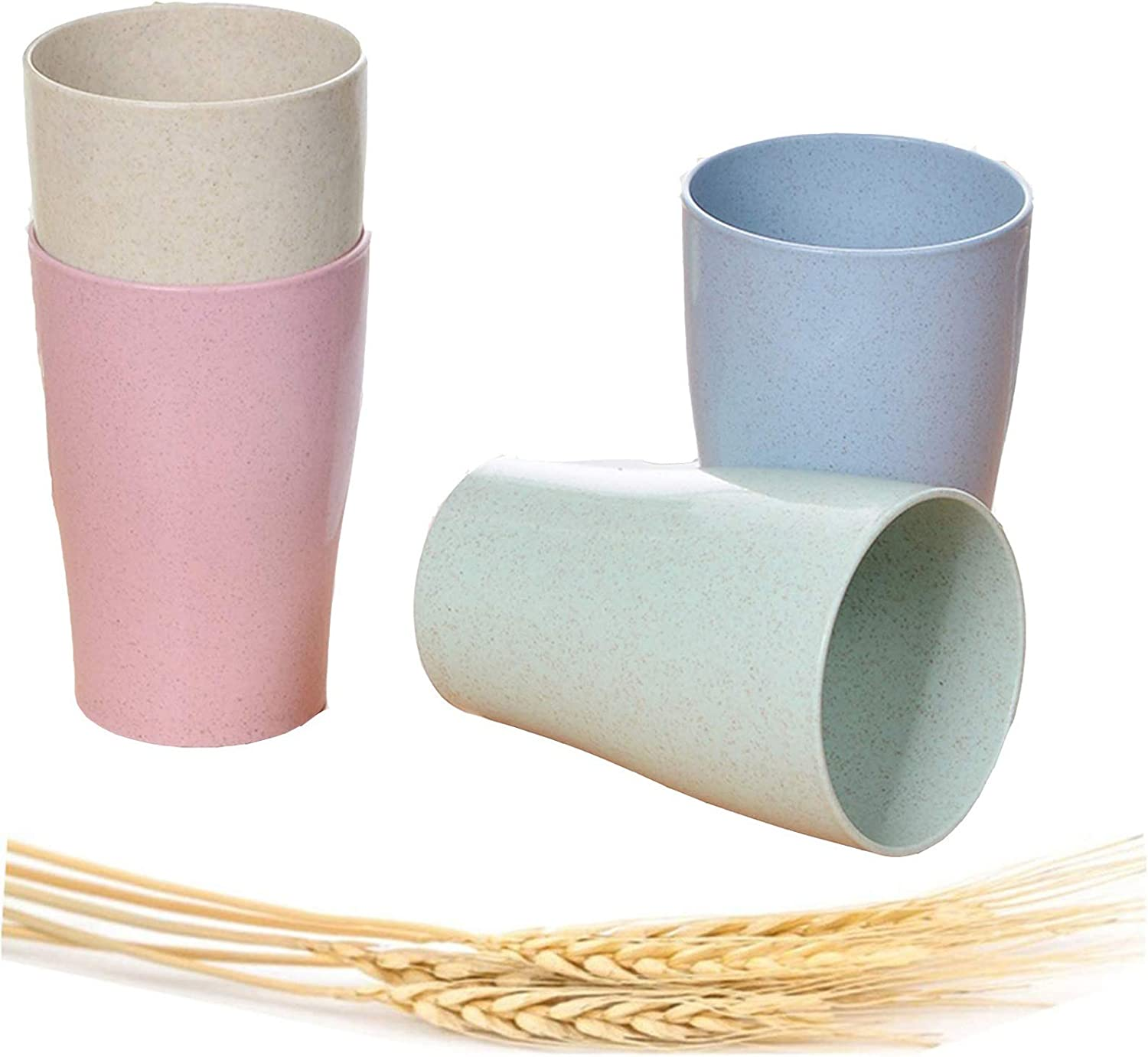 Eco-friendly Unbreakable Reusable Drinking Cup for Adult, Wheat Straw Biodegradable Healthy Tumbler Set 5-Multicolor, Dishwasher Safe