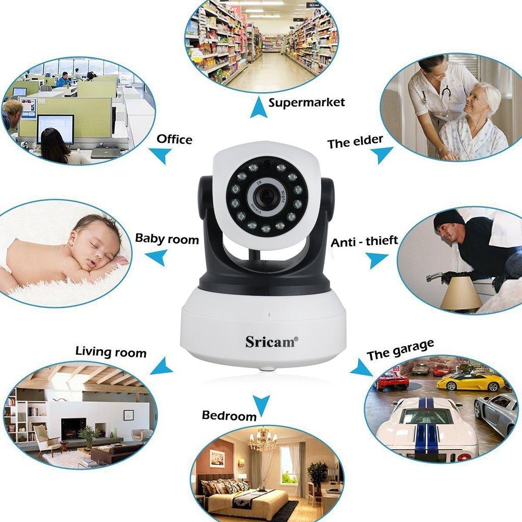 Detecci/ón de Movimiento Sricam SP017 C/ámara de Vigilancia C/ámara IP Wifi HD 720P Inal/ámbrico Vision Nocturna Compatible iOS Android Windows PC Audio Bidireccional con Micr/ófono y Altavoz