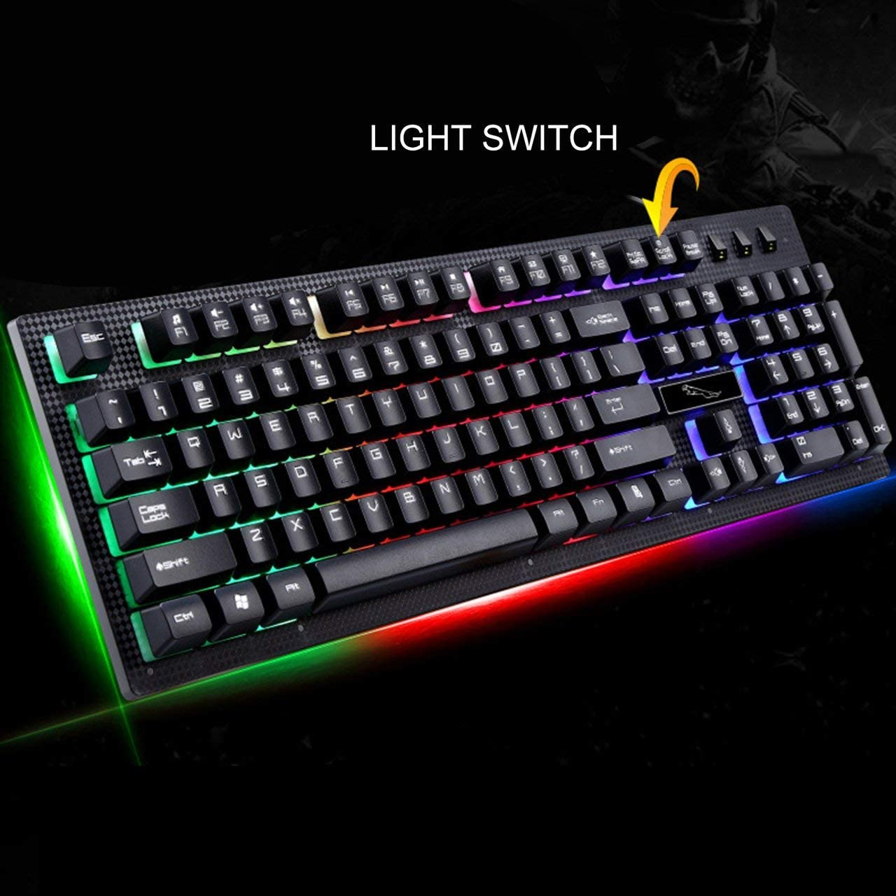 G20 Wired USB Illuminated Multi Color Backlight Gaming Keyboard Ergonomic Comfortable 114 Keys Keyboard for PC Laptop