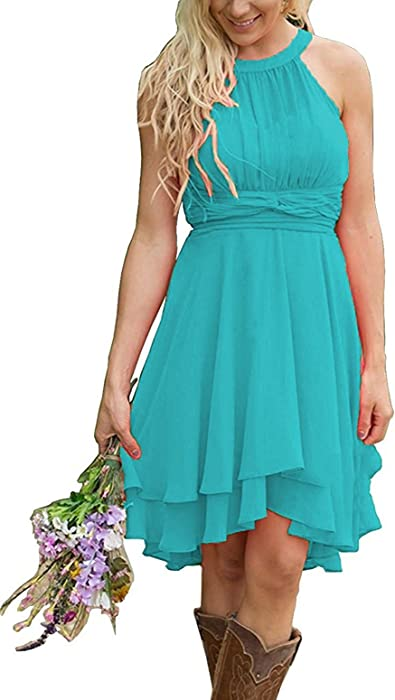 Women\'s Plus Size Country Bridesmaid Dresses Western Wedding Guest Dresses  Hi-Lo Maid of Honor Gown Turquoise US28