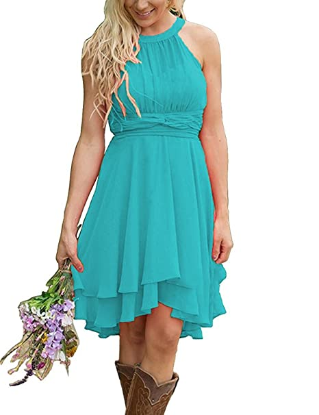 2fbdad4604d Meledy Women s Bridesmaid Dresses Short Strapless Chiffon Halter Zipper  Prom Gowns Turquoise US16  Amazon.ca  Clothing   Accessories