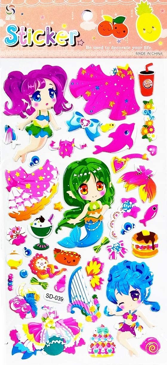 PARITA 1 Sheet Label Sticky Little Mermaid Princess Food and Drink Cartoon Kids Decal Art Stickers Bubble Foam for Decoration Design Craft Scrapbooking Album Card Diary Birthday Gift (15)