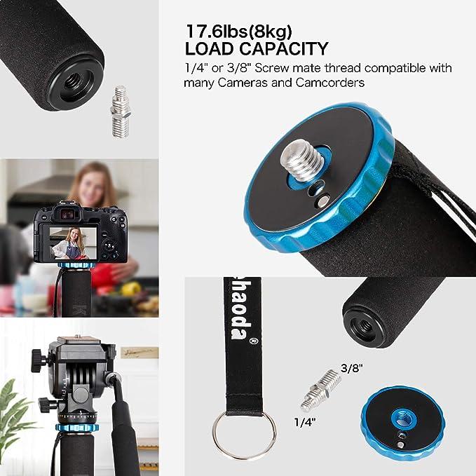 capacit/é de charge de 17,6 lb Bleu MP-285L Koolehaoda Aluminium 65,3 pouces Cam/éra monopode Sections /à 5 pattes