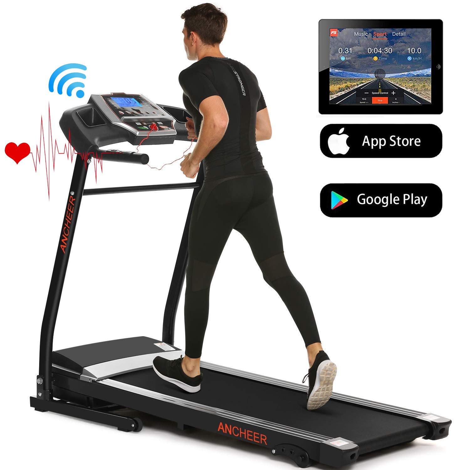 ANCHEER Treadmills for Home Running Machine with Incline – Folding Treadmill Electric Motorized Power with 12 Preset Programs Smartphone APP Control, Cardio Workout Gym Exercise Equipment
