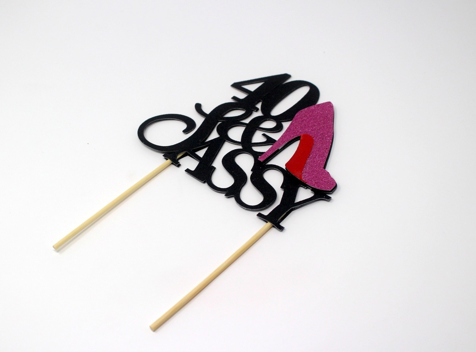 All About Details CAT40SABPI 40 and Sassy Cake Topper (Black and Pink), 6in Wide and 5in Tall with 2-pcs of 4in Wood skewers. by All About Details (Image #2)