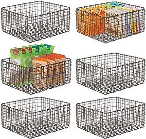 mDesign Farmhouse Decor Metal Wire Food Organizer Storage Bin Basket for Kitchen Cabinets, Pantry, Bathroom, Laundry Room, Closets, Garage, 12