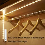 Amagle LED Dual Mode Motion Night Light, Flexible LED Strip with Motion Sensor Bed Light for Bedroom Cabinet, Nature White (4000K) (4 AAA Batteries Operated, Not Included)