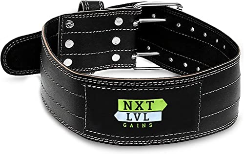 Nxt Lvl Gains Leather Weight Lifting Belt for Fitness with Men and Women – Provides Lower Back and Core Support in Workout Power Lifting Squats Deadlifts