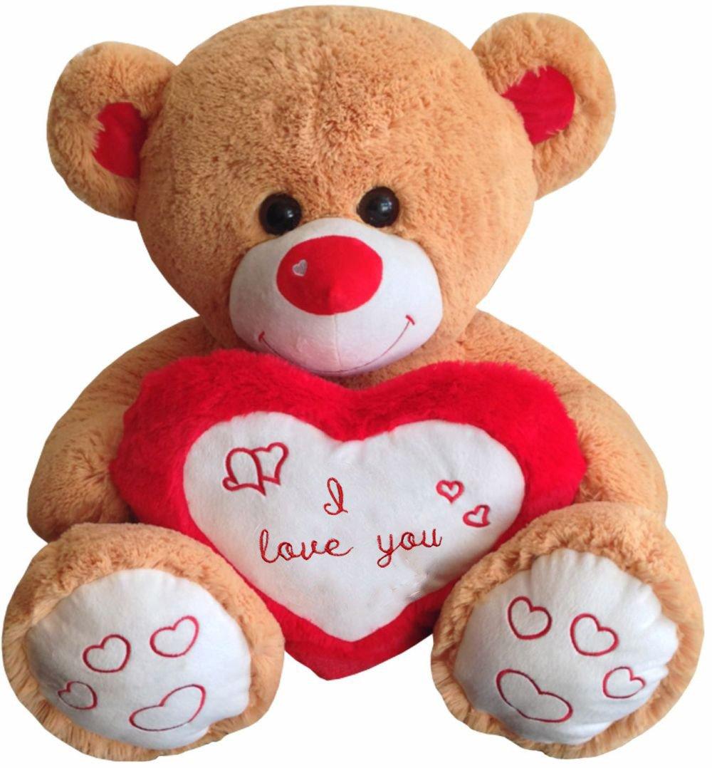Riesenteddy Felpa Peluche Oso de peluche Benny con Corazón I love you 80 cm sentado marrón: Amazon.es: Juguetes y juegos