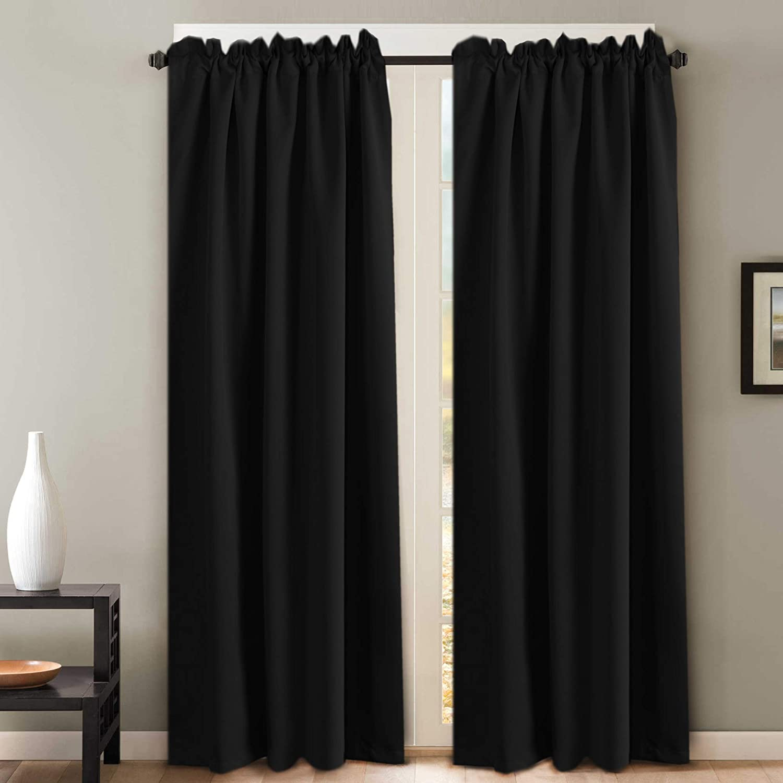 3de8612b49e73c Amazon.com: H.VERSAILTEX 100% Blackout Curtains for Bedroom Premium Thermal  Insulated Back Tab Window Drapes (2 Panels) - Solid Black - 52