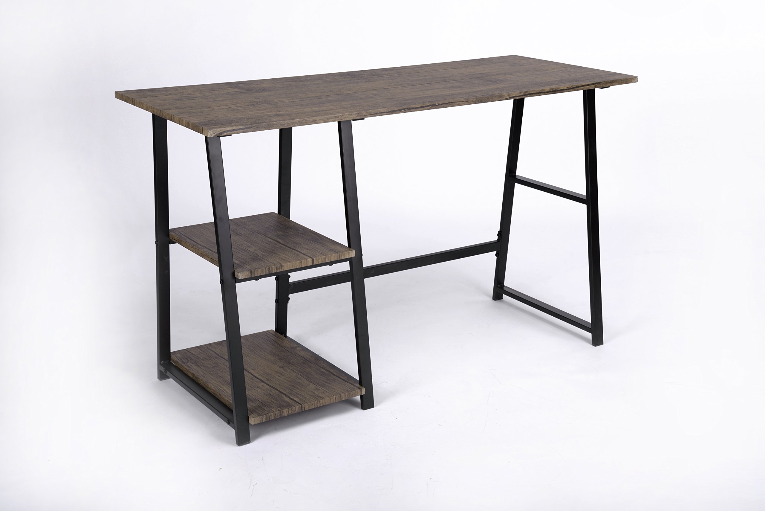 Vintage Brown Finish Computer Writing Study Trestle Desk Modern Vintage Home Office by eHomeProducts (Image #2)