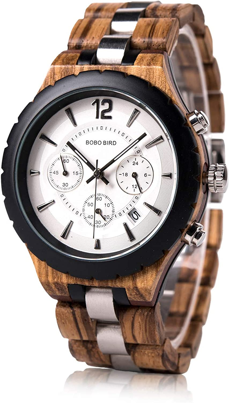 BOBO BIRD Mens Luxury Stylish Wooden Watches Date Chronograph Military Quartz Timepieces