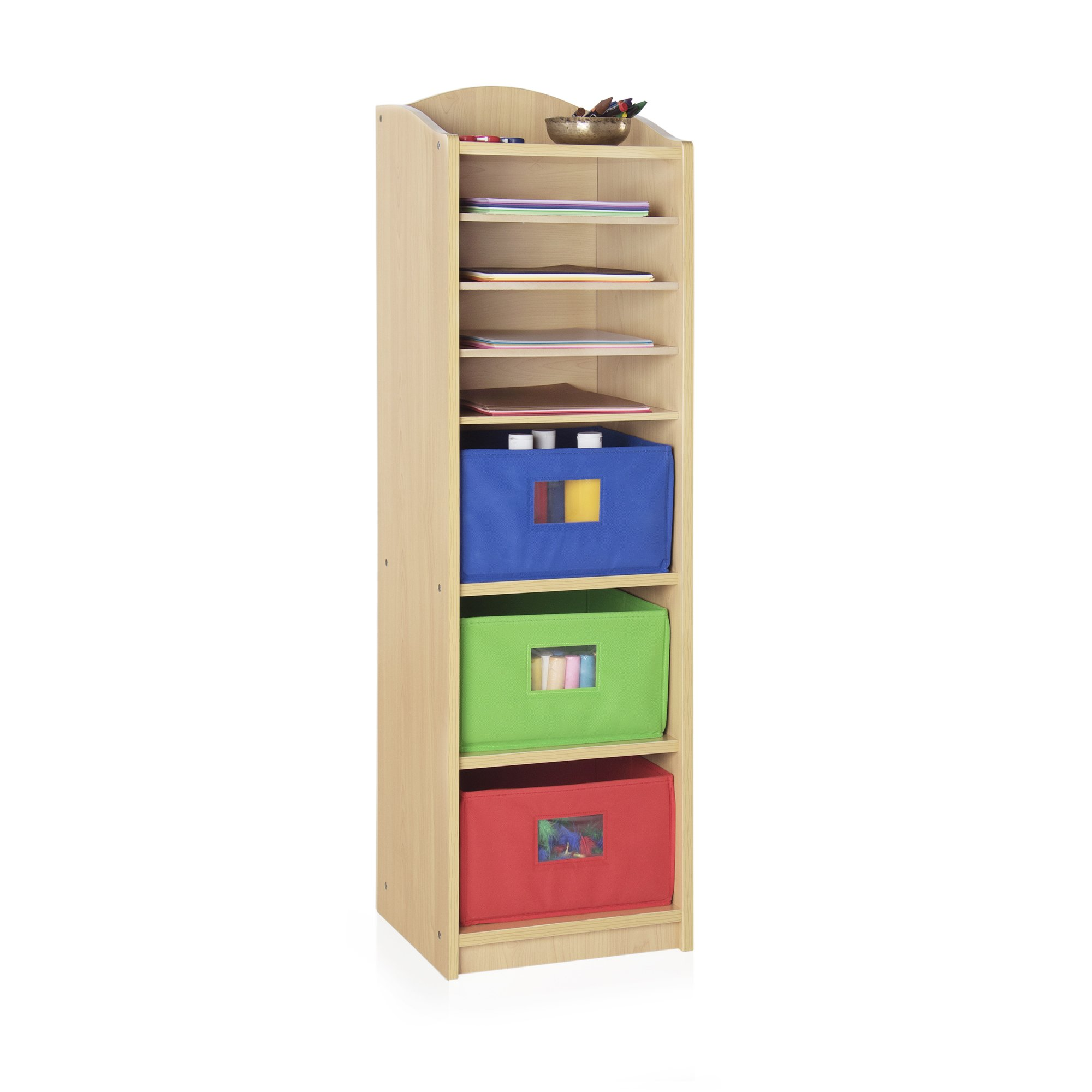 Guidecraft Narrow 3 Bin Storage Center - (Folding Colorful Bins Included) Tall Arts and Crafts Storage, School Supply Furniture, Kids Toy Organizer