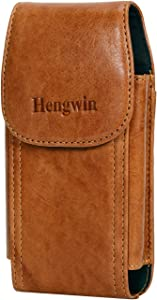 Hengwin Genuine Leather Cell Phone Magnetic Case for iPhone 12 Pro Max Holster Case with Belt Clip Loop Pouch iPhone 11 Pro Max XS Max 8 Plus 7 Plus 6s Plus Belt Holder Cover for Men (Brown)