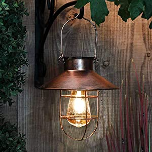 pearlstar Solar Lantern Outdoor Hanging Light Vintage Solar Lamp with Warm White Edison Bulb Design for Garden Yard Patio Decor(Copper,)