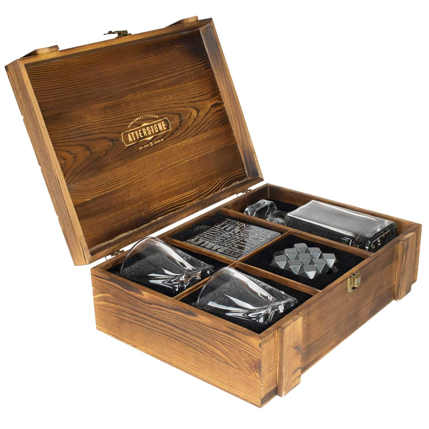 Atterstone Crate Whiskey Box Set with Premium Decanter and 2 Swirl Glasses, Includes 9 Chilling Stones and 2 Dark Stone Coasters, Encased in Polished Wood Box Great for Holiday and Wedding Gifts by Atterstone (Image #3)