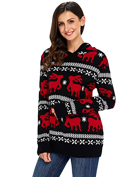 Foryingni Women's Ugly Christmas Sweater Knitted Hooded Reindeer ...