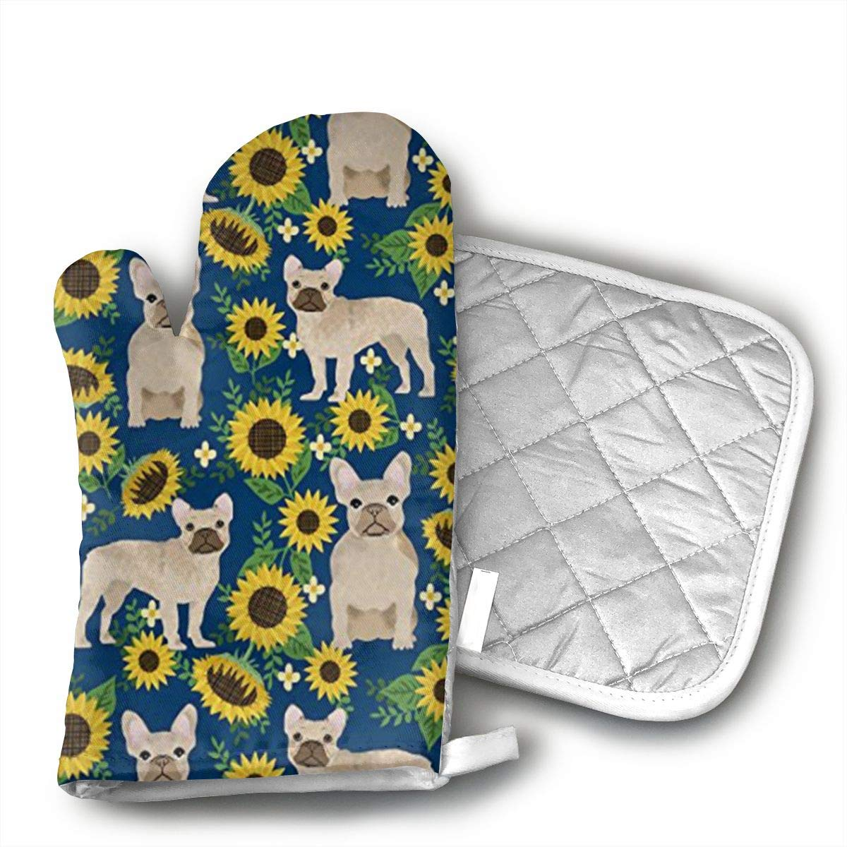 Jiqnajn6 French Bulldog Sunflowers Oven Mitts,Heat Resistant Oven Gloves, Safe Cooking Baking, Grilling, Barbecue, Machine Washable,Pot Holders.