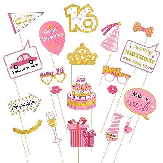 Amosfun Sweet 16 Accesorios para Fotos de cumpleaños, 20 ...