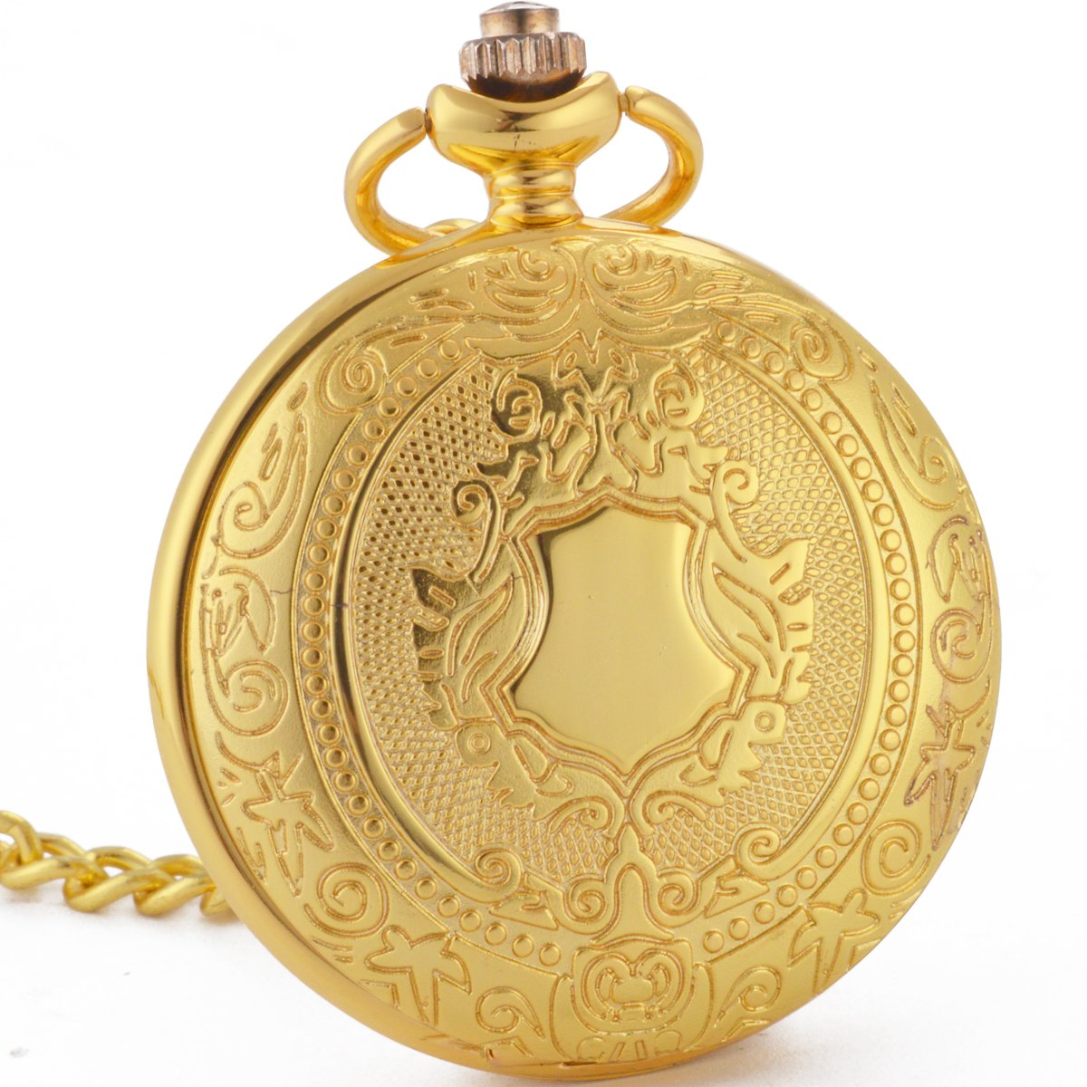 WENSHIDA Pocket Watch Skeleton Mechanical Shield Vintage Mens Women Roman Numerals Luxury Chain Box