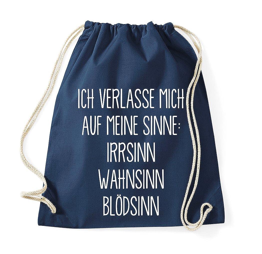 TRVPPY Turnbeutel mit Spruch//Modell MEINE SINNE IRRSINN BL/ÖDSINN WAHNSINN//Beutel Rucksack Jutebeutel Sportbeutel Fashion Hipster