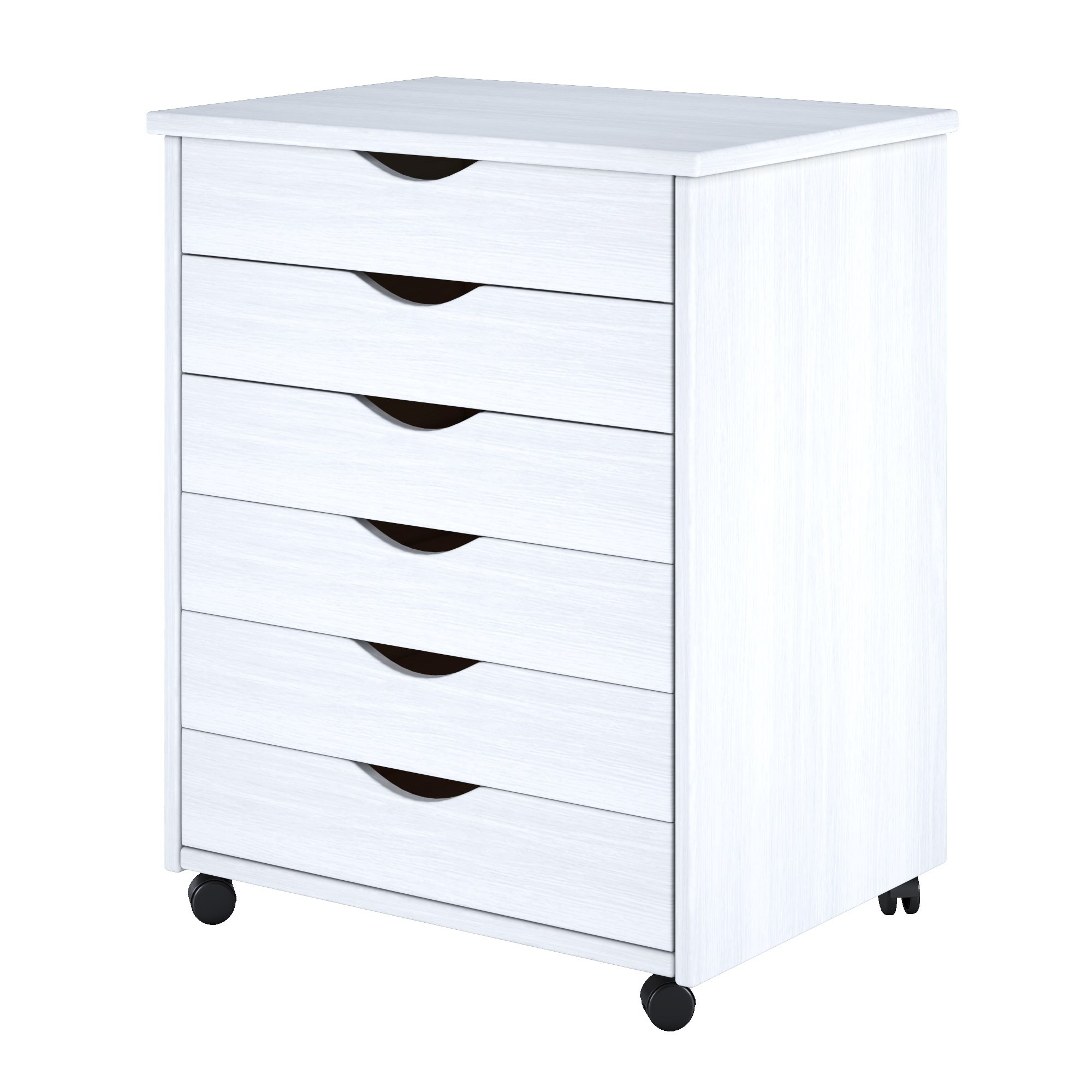 ADEPTUS 88009  6 Drawer Wide Roll Cart Solid Wood, White by ADEPTUS