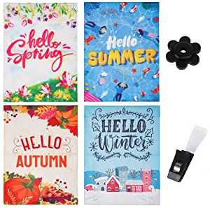 Mienno Season Garden Flags, 4 Pack Double Sided Hello Spring Summer Autumn Winter Garden Flag, 12x18 inch Yard Flags with Anti-Wind Clip and Stopper, Outdoor Garden Yard Flags