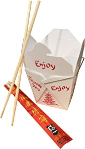 Combo - Pack of 25 Chinese Take Out Boxes Pagoda 16 oz/Pint Size Party Favor and Food Pail with 25 Chopsticks in DHI Packaging
