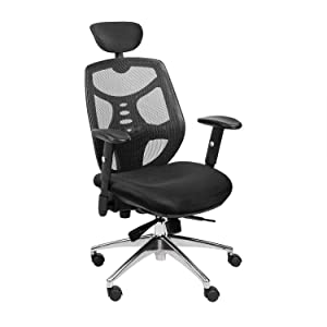 Bonzy Home Reclining Office Chair High Back - 300 LB Capacity Ergonomic Computer Mesh Recliner - Executive Swivel Office Desk Chair - Task Chair with Footrest and Lumbar Support (Black Sponge Seat)