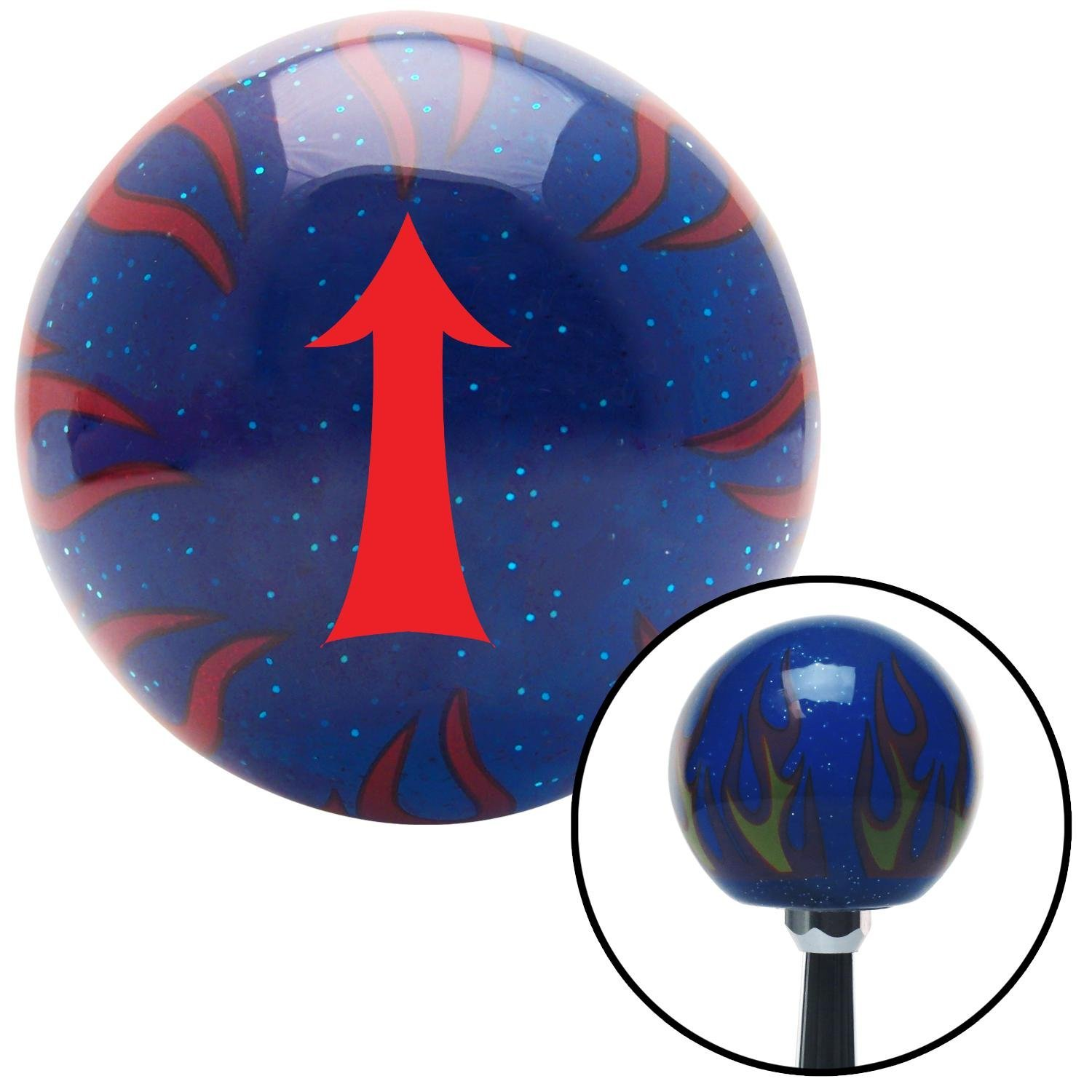 Red Fancy Solid Directional Arrow Up American Shifter 244477 Blue Flame Metal Flake Shift Knob with M16 x 1.5 Insert