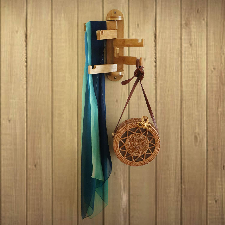 AllBombuu DIY Coat Rack Shelf Coat Rack Wall-Mounted Bamboo Wooden Hook Rack with 5 Storage Hooks for Jackets,Hats,Bags,Scarves in Hallway Bathroom Living Room Bedroom