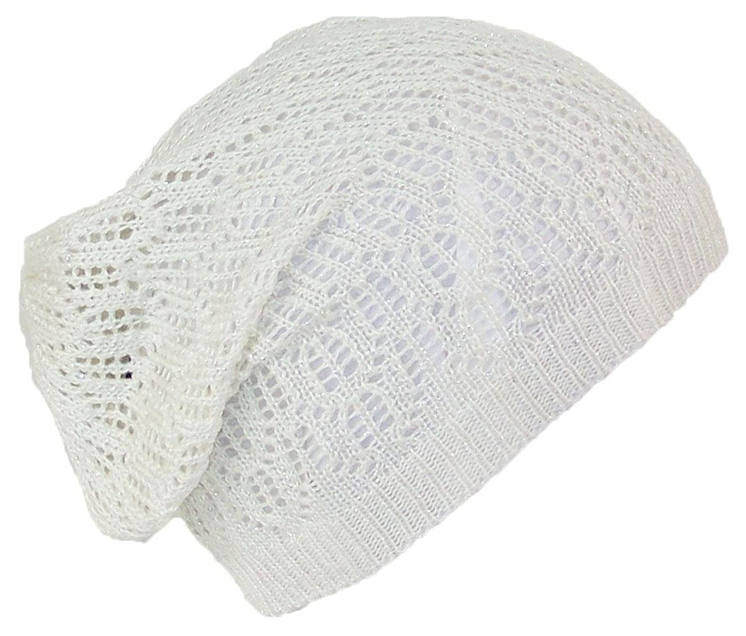 D&Y Women's Loose Shimmery Lightweight Ladder Stitch Knit Skull Cap (One Size)
