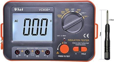 YGY-YGY Precise instrument Digital insulation resistance tester VC60B insulation testing machine mega oh meter 250 V 500 V 1000 V high voltage and short circuit input alarm Resistance