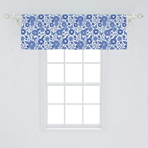 Ambesonne Dutch Window Valance, Delft Style Flowers in Doodle Style Abstract Petals Leaves Butterflies, Curtain Valance for Kitchen Bedroom Decor with Rod Pocket, 54