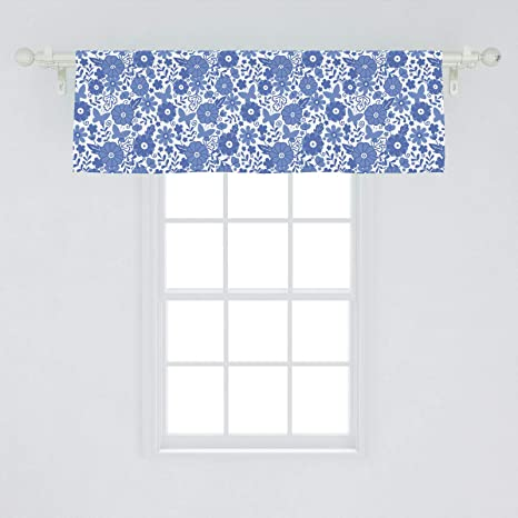 Ambesonne Dutch Window Valance Delft Style Flowers In Doodle Style Abstract Petals Leaves Butterflies Curtain Valance For Kitchen Bedroom Decor With Rod Pocket 54 X 18 Purple Blue Home Kitchen