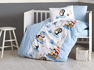 100% Cotton Cute Penguins Themed Nautical Nursery Baby Bedding Set, Toddlers Crib Bedding for Baby Boys, Duvet Cover Set with Comforter, Blue