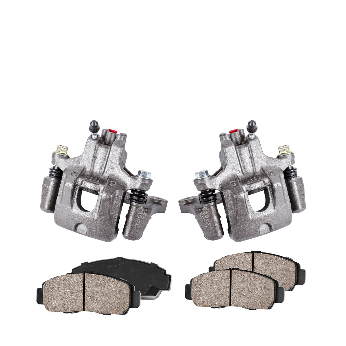 Callahan CCK04114 [2] REAR Premium Loaded Original Caliper Pair + Ceramic Brake Pads + Hardware Kit Callahan Brake Parts