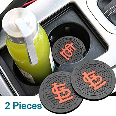 Wall Stickz Auto Parts 2PCS 2.75 Inch with American Baseball Team logoTough Auto Cup Holder Mat Anti Slip Coaster Durable Car Interior Accessories for All Brands of Cars (St. Louis Cardinals): Automotive