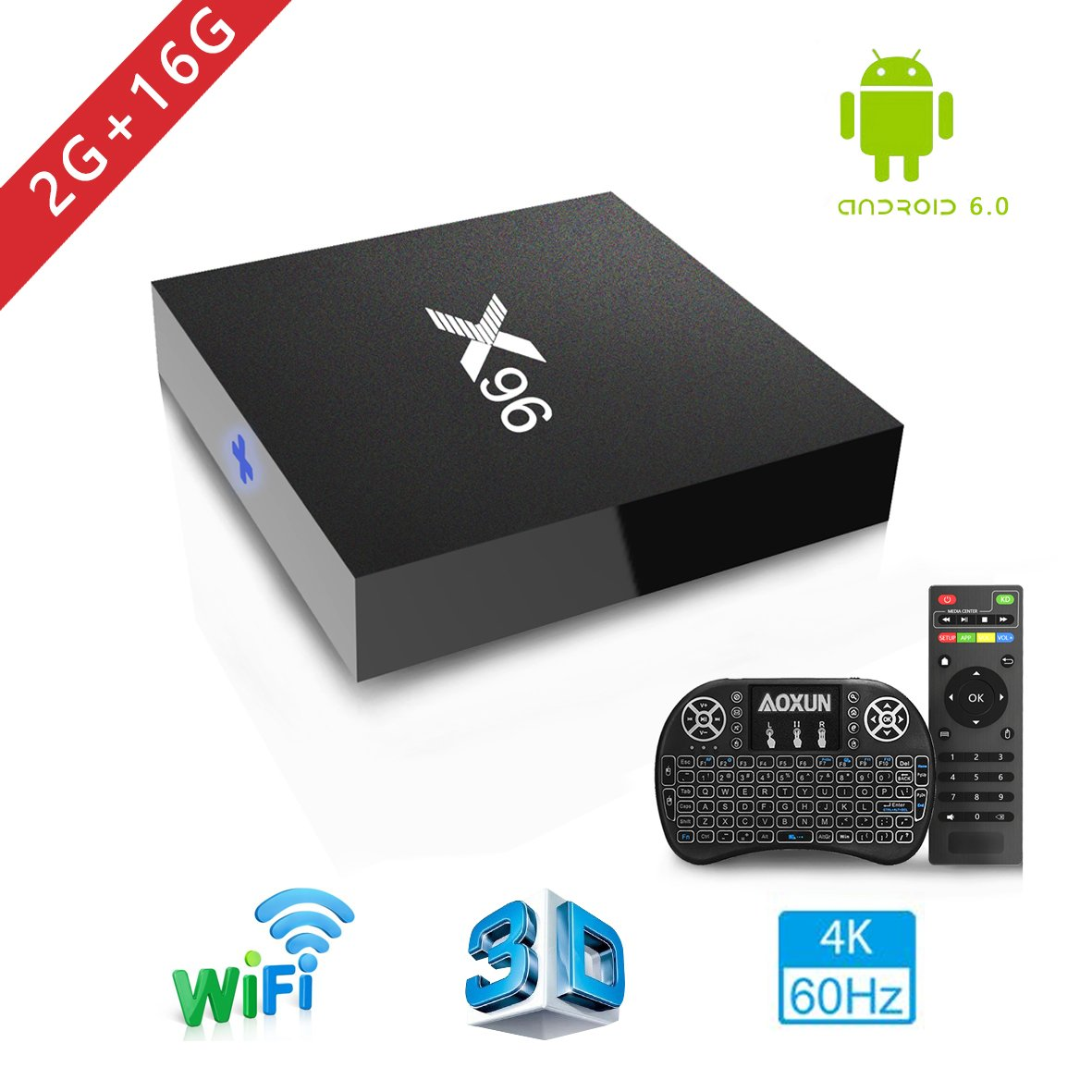 Android TV Box - Smart TV Box with Quad Core X96 Android 6.0 TV Box Amlogic S905 2G RAM 16GB ROM H.265 64 Bit WiFi By Aoxun [2018 Version] …