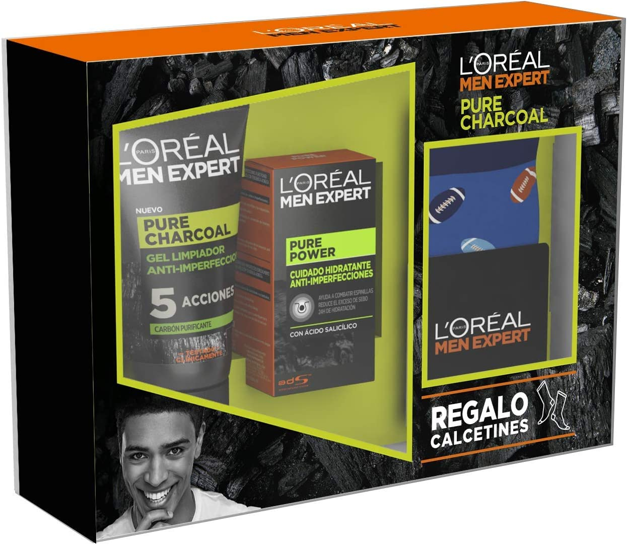 L'Oréal Men Expert - Pack con Crema hidratante Pure Power 50 ml y Limpiador Pure Charcoal 100 ml