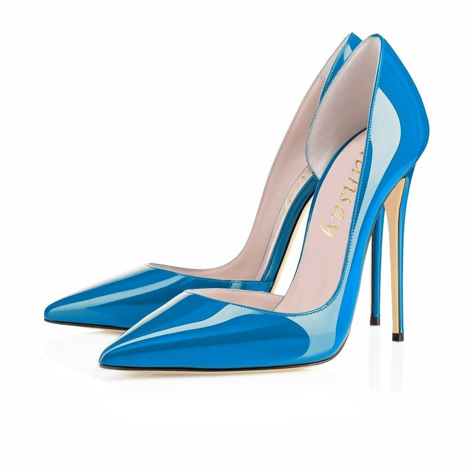 Nansay Women's Shoes Big Size Size Size D'Orsay&Two-Piece Ladies Shoes Solid Pointed Toe High Heels Pumps For Party B01NCJ1YS2 4|Blue 10ff4d
