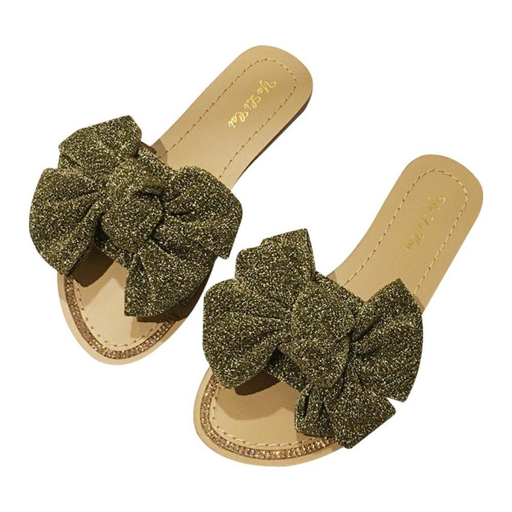 Zapatillas de playa Sandalias planas de mujer Zapatillas de tacón plano de interior al aire libre Zapatillas de tacón bajo Mujeres cómodas ocasionales Zapatillas de tacón de diapositivas 36 2/3 EU|Gold