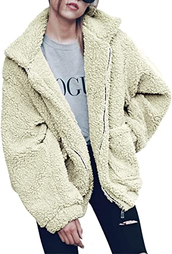 PRETTYGARDEN Womens Fashion Long Sleeve Lapel Zip Up Faux Shearling Shaggy Oversized Coat Jacket With Pockets Warm Winter