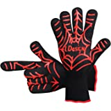 BBQ Grilling Cooking Gloves, Spider 932℉ Extreme Heat Resistant Gloves Non-Slip with Extended Protection & Internal Cotton Layer for Barbecue, Cooking, Baking (One Pair)