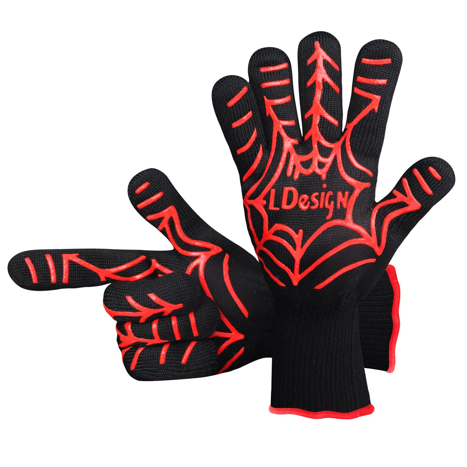 LDesign Oven Gloves, Heat Resistant Pot Holders Spider Shape Non-Slip Oven Mitts with Free Size