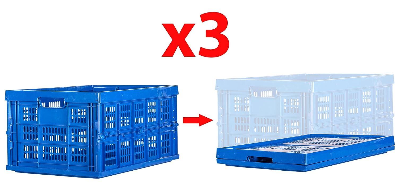 3パックcart-buddy 48リットルCollapsible Storage Bin /コンテナGrated壁Foldingユーティリティショッピングキャリーバスケットトートバッグ B079GMZR7H