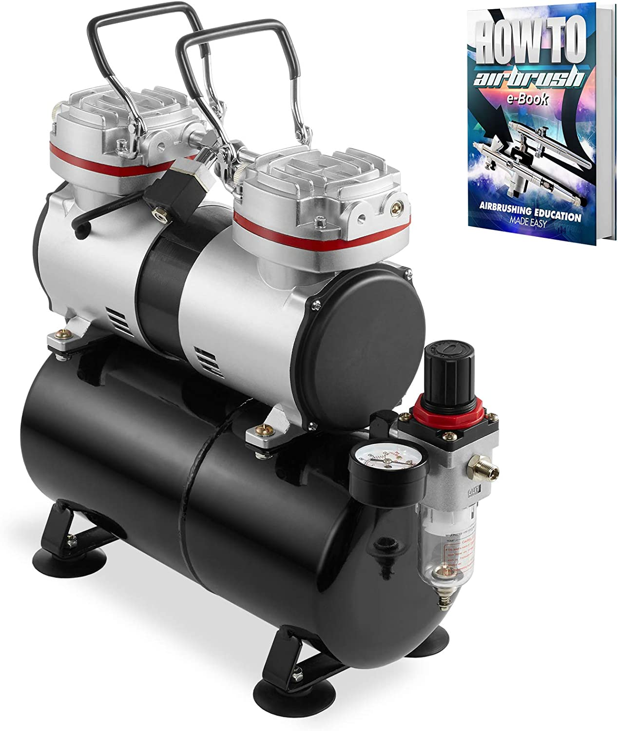 PointZero 1/3 HP Double Piston Airbrush Compressor with Air Tank, Regulator, Gauge and Water Trap - Quiet Professional Pump